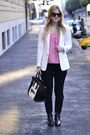 White-zara-blazer-white-celine-bag-black-true-religion-pants