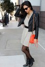 Beige-lamade-dress-black-forever-21-jacket-carrot-orange-rebecca-minkoff-bag