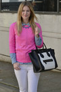 Bubble-gum-j-crew-sweater-black-celine-bag