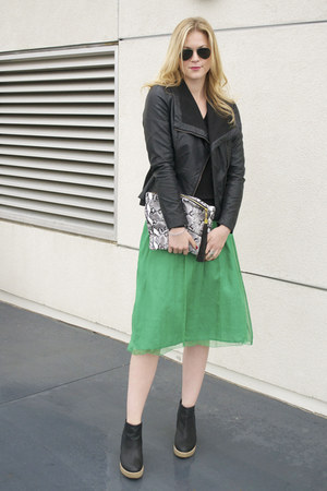 green vintage dress - black Forever21 jacket