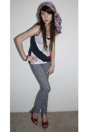 vintage scarf - Diesel top - striped jeans
