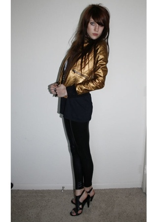Dolce&Gabbana jacket - Harley Davidson shirt - American Apparel leggings - Nine