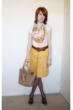 vintage scarf - thrifted skirt - vintage braided leather belt - floral tights -