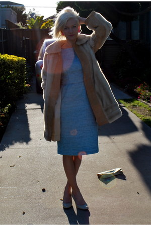 baby blue thrifted vintage dress - fur thrifted vintage coat