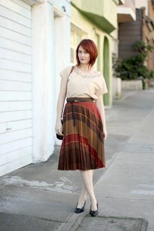 burnt orange thrifted vintage skirt - brown Dooney and Bourke bag