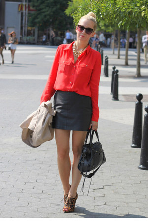 Zara leather skirt - Amanda Schutz shoes - J Crew shirt - balenciaga bag