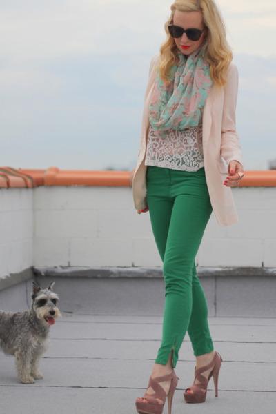 Miu Miu shoes - Zara jeans - H&M blazer - lace H&M shirt - Karen Walker sunglass