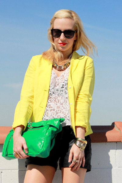 yellow J Crew blazer - chartreuse foley & corinna bag - black ASOS Leather short