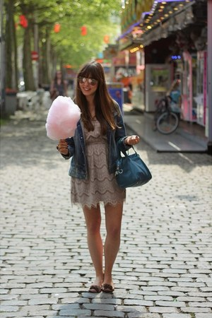 light pink lace Nasty Gal dress - navy denim G-Star jacket