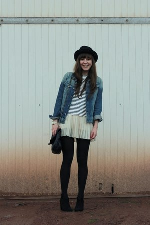 white sequin J Crew top - black booties Bershka boots - black round H&M hat