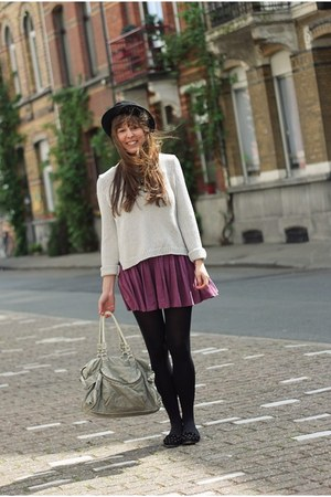 magenta Topshop skirt - black felt H&amp;M hat - silver silver H&amp;M sweater
