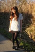 black Sasha shoes - black H&M skirt - white lace Zara top
