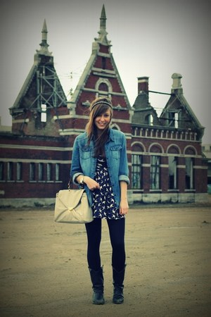 navy bird Zara dress - black vintage vintage boots - navy denim H&M shirt