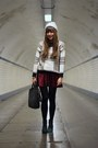 Black-booties-sacha-boots-ivory-beanie-we-fashion-hat-white-choies-sweater