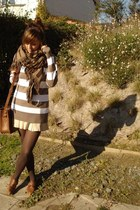 brown striped J Crew sweater - beige leather Zara skirt