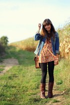 navy denim G-Star jacket - dark brown leather vintage boots