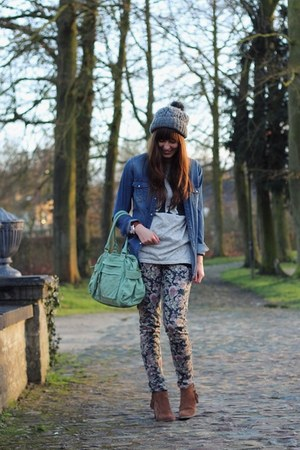 puce floral Mango pants - brown studded Primark boots - blue denim H&amp;M shirt