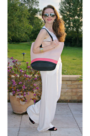 white Primark pants - salmon H&M bag - white new look top