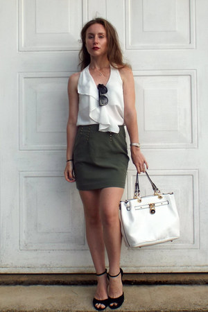 dark khaki H&M skirt - white la moda bag - black asos sunglasses