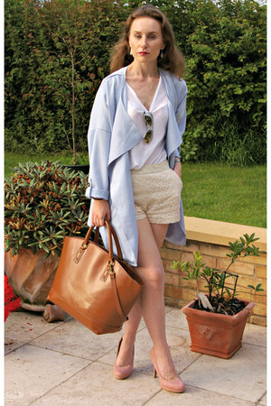 sky blue Sheinsidecom coat - tawny la moda bag - peach new look heels