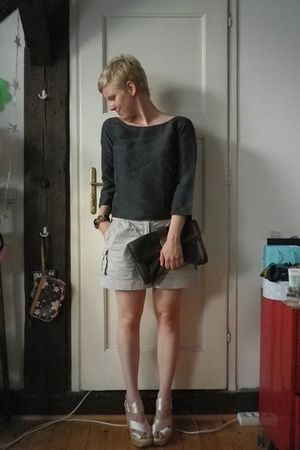 blue COS shirt - beige H&amp;M shorts - purple Guliver purse - beige Miu Miu shoes