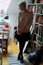 beige H&M sweater - black H&M skirt - black H&M boots