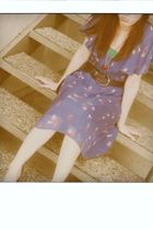 blue Kimichi Blue dress - brown belt - brown shoes