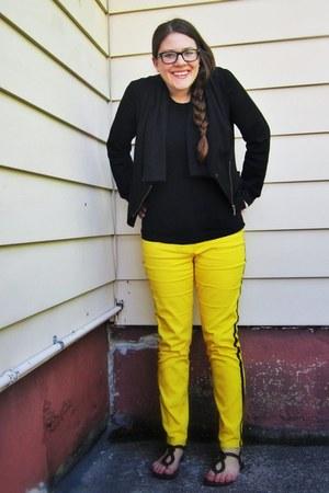 yellow kenzie pants Kenzie pants - black blazer