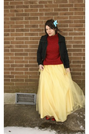 Sweater Dress on Jacket   Brick Red Thrifted Sweater   Yellow Dress As Skirt Windsor Sk
