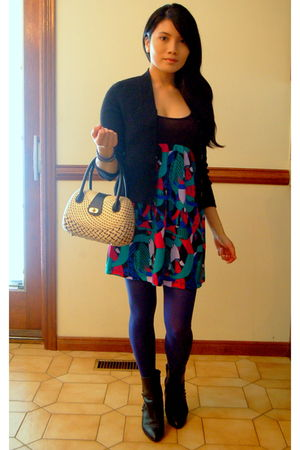 black My moms cardigan - 725 dress - blue ardenes stockings - black My moms boot