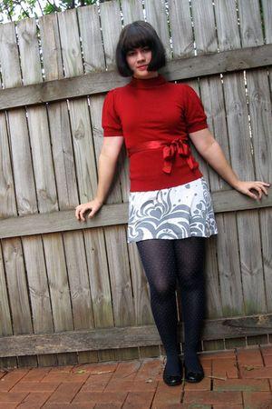 red portmans shirt - white Target dress - blue stockings - black Love & Joy shoe