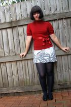red portmans shirt - white Target dress - blue stockings - black Love & Joy shoe
