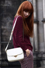 Maroon-patterned-h-m-pants-white-bimba-lola-bag