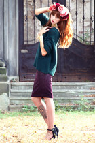teal Zara jumper - black Zara heels - purple H&M skirt - gold H&M bracelet