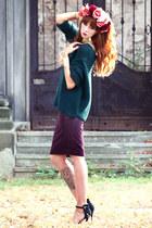teal Zara jumper - black Zara heels - purple H&M skirt - gold H&M bracelet