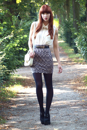 patterned Urban Outfitters skirt - Bimba & Lola bag - new look blouse