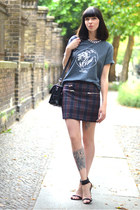 dark green Zara skirt - heather gray Royal Republic shirt