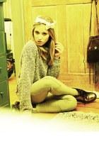 ivory American Apparel scarf - lime green American Apparel sweater - dark khaki