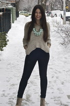 Zara boots - Urban Outfitters sweater - black jeggings Urban Outfitters pants -
