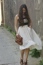hm bag - Steve Madden heels - hm skirt - Grey Antics top
