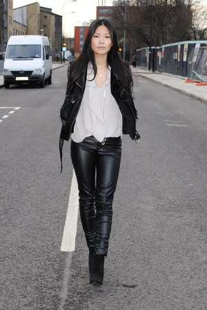 black pony skin R13 jacket - black suede asos boots - black leather Zara pants