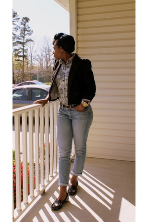 black cropped thrifted vintage blazer - blue H&M jeans
