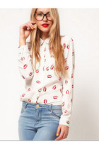 Europe All-match Retro Levreshouges Printing Long-sleeved Blouse