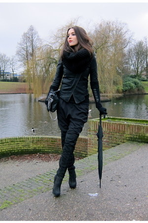 black suede overknee Topshop boots - black faux leather Oh my Frock jacket - bla