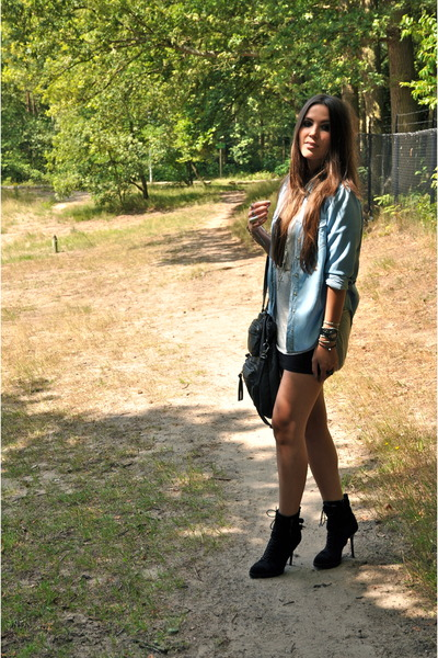 silver tanktop H&M top - black lace up ankle Zara boots - blue denim Zara blouse