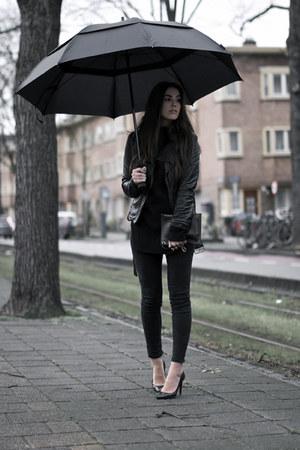 black black jeans - black leather Zara jacket - black knitted sweater