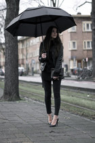 black black jeans - black leather Zara jacket - black knitted sweater