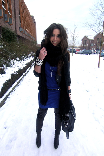 blue suede Jimmy Choo for h&m dress - black tigh high Zara boots