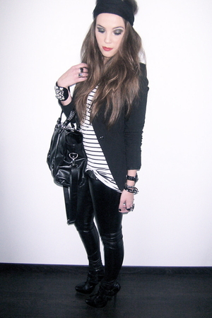 black Topshop boots - black Topshop pants - white H&amp;M top - black Zara blazer