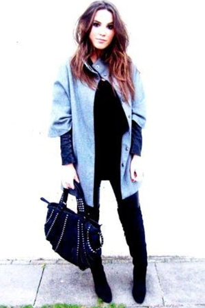 H&amp;M coat - asos top - Zara boots - Zara - Bershka pants